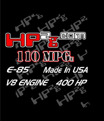 HP2g 110mpg E85 Ethonal fuel V8 Hybrid Electric Stirling Engine