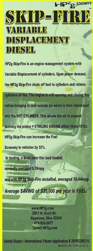 HP2g SKIP-FIRE Varible  Displacement Diesel Fuel economy