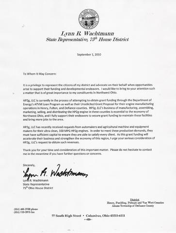 State Rep. Wachtmann Letter of Support for HP2g to US DOE grant