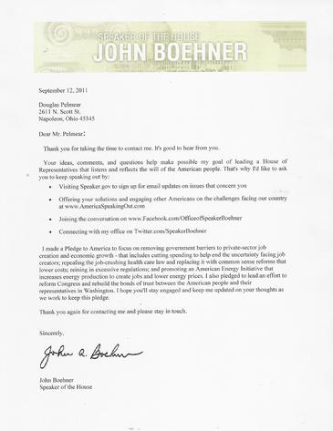 Letter to Doug Pelmear of HP2g 110mpg 400hp V8 Hybrid Engine from Speaker of the House John Boehner about Fuel Economy & Electric Motor