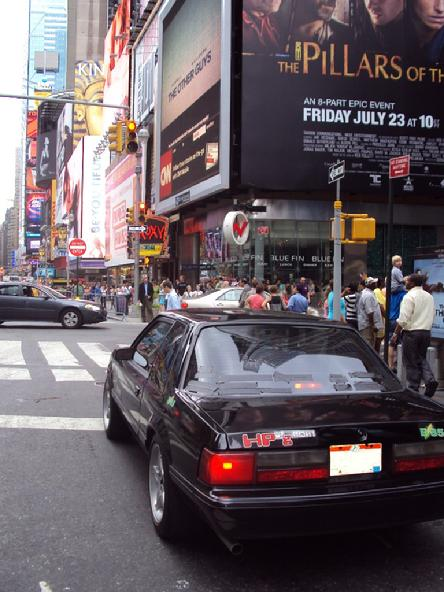 HP2g New York City NY Times Square 110mpg E85 Hybrid V8 fuel ecomony